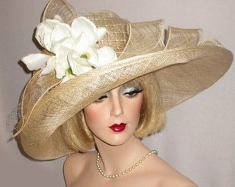 LADY MAGNOLIA- Wide Brim Champagne Beige Sinamay Hat, Downton Abbey Hat, Garden Party Hat With Magnolias, Hat For Wedding, High Tea Hat