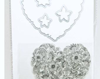 KaiserCraft Dies & Stamp Set -- Heart -- Adult Coloring Planner Journal Scrapbook Cards