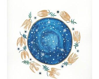 Original painting, Flight of the Golden Birds