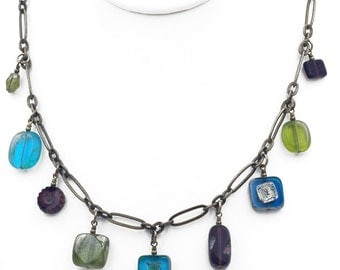 Jewel Tone Czech Glass Bead Dangle Necklace