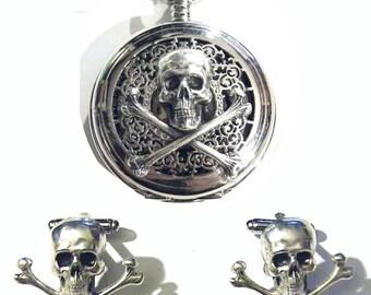 Set Steampunk Silver Pocket Watch Skull Skeleton Gothic Metal Gears Goth Victorian Steam punk Chain fob Mens cufflinks cuff links gift groom