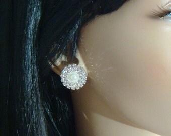 Wedding Pearl Plugs / 2 - 10mm / pearl and rhinestone wedding ear plugs gauges