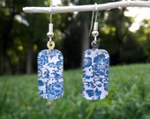 Chinese porcelain floral earrings, small glass earrings, indigo flowers, blue and white floral design, Asian style jewelry
