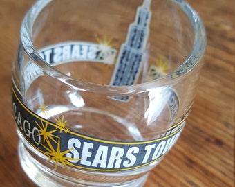SHOT GLASS Rare Rocking Sears Tower Round