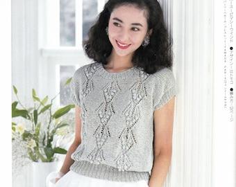 Vintage Summer Knitting Pattern, Japanese Craft Book, Knit Blouse Pattern, Knit Sweater Pattern, Knit Polo-T Pattern