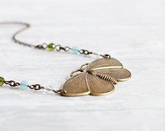 Brass Butterfly Necklace - Antiqued Brass Pendant Necklace with Crystal Accents, Moth Necklace, Insect Jewelry, Summer Fashion Accessory