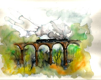 """Italian Landscape Art  Original Watercolor """"TUSCANY"""" Italy  Italian Landscape & Scenic"""