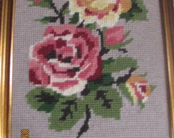 REDUCED Vtg Shabby Framed Pink Roses Rosebuds Completed Needlepoint Gold Tone Light Wood  Picture Frame
