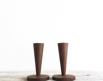 Set of Mid Century Tapered Wood Candlesticks, Mid Century Modern, 1950's