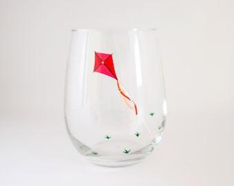 Flying Kite Hand Painted Wine Glass