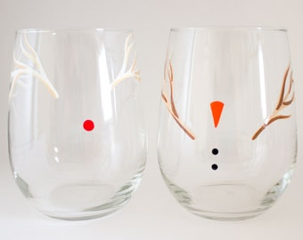 Frosty Friends Holiday Dinnerware - Hand Painted Wine Glasses - Frosty the Snowman - Rudolph the Red Nosed Reindeer - Christmas Party Favor