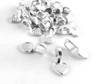10pcs / 200pcs WHOLESALE Bails - Silver Plated Heart Blank Glue On Bails Jewelry Findings -Craft Supply Necklace Bail Bulk DIY Bead L21 A23