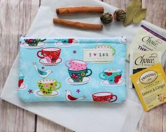 Tea wallet, Tea Time luxurious tea zipper pouch Travel tea holder Tea bag wallet fabric pouch Tea Lover gift Hostess party gift Tea cups