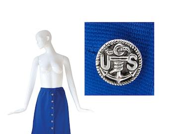 1970s Skirt • 70s High Waisted A-line Skirt • Blue • XS / S