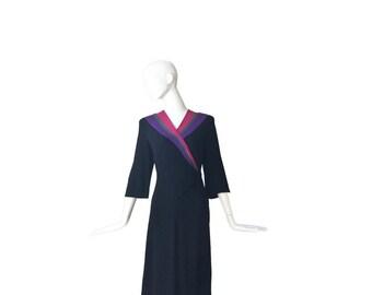 1940s Dress Large • 40s Black Crepe Wrap Dress • Colorblock • L