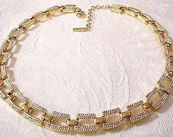 Double Bar Box Necklace Link Chain Gold Tone Vintage Napier Textured Choker Length Adjustable Hangtag