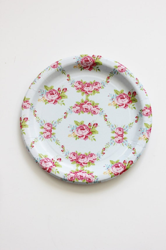 30 FLORAL TEA PARTY Paper Plates Parisian Vintage Style Shabby Chic Cottage Garden Tea Time Light Baby Blue Pink Rose Roses French English & 30 FLORAL TEA PARTY Paper Plates Parisian Vintage Style Shabby Chic ...