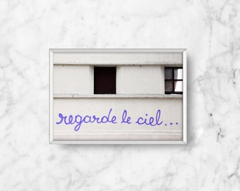 SALE: French Graffit i/ Regarde le Ciel, Look at the Sky Fine Art Photograph, neon purple, grey urban/ living room decor