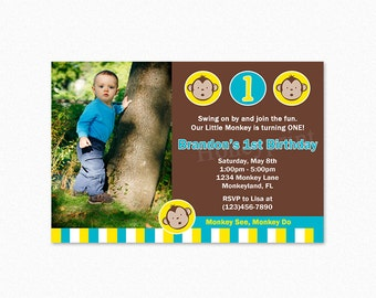 Mod Monkey Birthday Party Invitation, Blue Yellow White, Mod Monkey Birthday Invitation, Mod Monkey Birthday Party, Printable Invitation