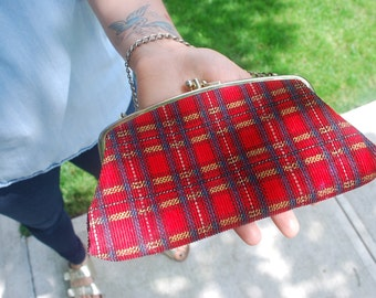 Plaid Mini Clutch Wallet Chain Strap Vintage