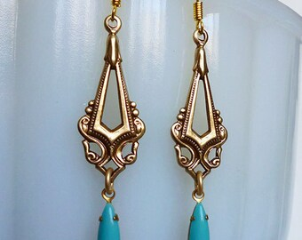 Victorian Turquoise // Sleek Brass Filigree Drop Earrings with 1950s Turquoise Gems, Vintage Milk Glass Navette, Bohemian Edwardian Downton