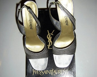 ON SALE Vintage Womens YVES Saint Laurent Made In Italy Heel Silver Shoes 39 Ysl Stiletto