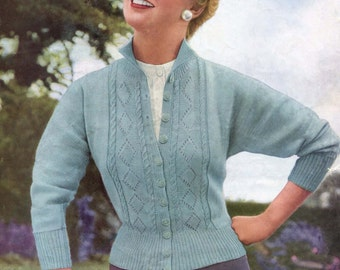Diamond Lace Fronted Dolman Cardigan Bust 32, 34 and 36 Marriners 243 Vintage 1950s Knitting Pattern Pdf