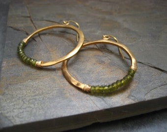 Hoop earrings, crescent hoops, circle earrings, idocrase dangle, green gemstone, wire wrapped hoops, rondelle beads, half moon earrings