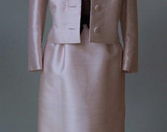 1960s Harmay Dress Suit - Jackie O Style Ladylike Luxurious // Raw Silk Illusion Lace Hourglass Dress Jacket Set - Med