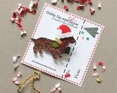 Holiday Hair Bows, Christmas Hair Clip Weiner Dog, giddyupandgrow