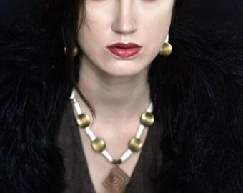 Morocco Coral Brass Tassel necklace - Ethnic tribal Tassel Neckpiece White corals and morocco fabric tassel