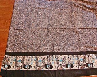 1970s Fabric Boho Fabric, Border Fabric the Yard Apron Skirt Dress Fabric Boho Calico Print on Top, Border Street Scene with Antique Shop
