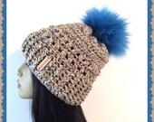 Tan Speck Faux fur Crochet Slouch  loose fitting stylish woman hat pom pom