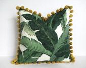 Pillow Cover Swaying Palms Pom Pom Trim Tommy Bahama Banana Leaf