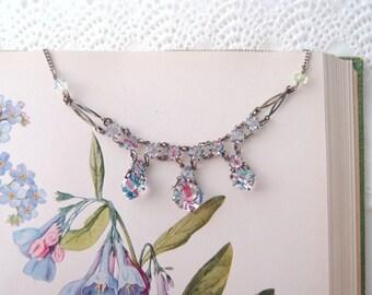 Art Deco Iris Crystal Necklace Czech glass open-back Rainbow Iris stones