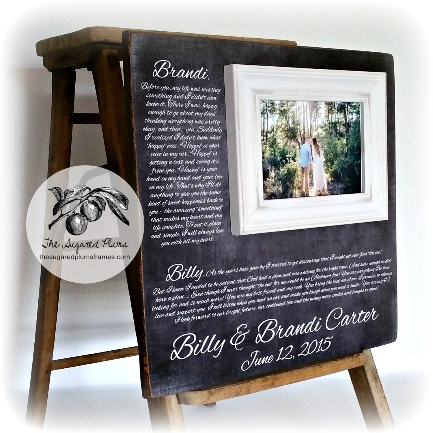 Wedding Gift Personalized Picture Frame : Anniversary Gift Personalized Picture Frame Wedding Vows