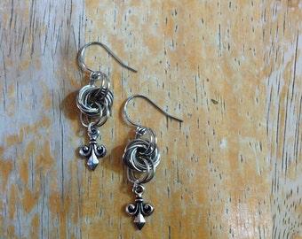 Fleur de lis silver loops dangle earrings