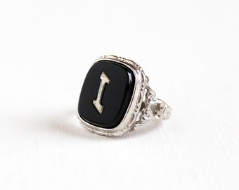Sale - Vintage Silver Tone Art Deco Letter I Filigree Ring - 1930s Uncas Antique Size 3 1/2 Monogrammed Signet Initial Black Lucite Jewelry