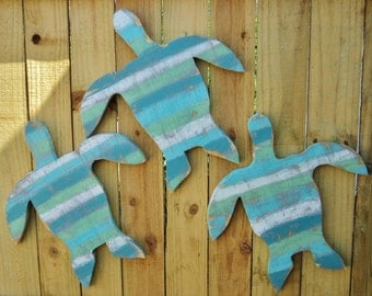 Set Of 3 Rustic Wooden Sea Turtles, Beach House Decor, Rustic Wall Art