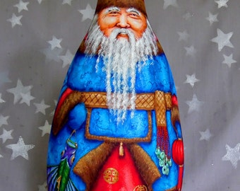 "Dun Che Lao Ren, China inspired Santa Claus, hand painted gourd, 13 1/2"" tall"