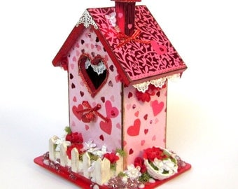 Valentine Birdhouse Valentines Day Decor February Centerpiece Red Pink Hearts Embellished Bird House Decoupaged Holiday Decoration