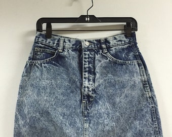 skirt, jean skirt, denim skirt, 80s high waisted acid wash denim mini skirt, short skirts, minimal, medium 28 6-8