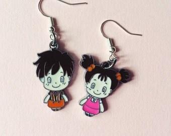 Totoro Earrings - Mei and Satsuki