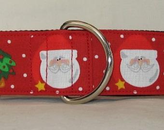 SALE MEDIUM ONLY Santa Cheer Martingale Collar - 1.5 Inch - red green tree Christmas holiday winter polka dot white