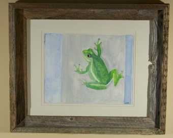 Original watercolor painting, Green Tree Frog, unframed