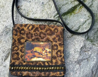 Handmade Purse, Black Leather, Jaguar Print Fabric, Jaguar Graphic, Vintage Brass Trim, Antique Glass Beads, Shoulder Strap