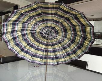 Mid Century Plaid Umbrella Lucite Bottom Handle By Gatormom13