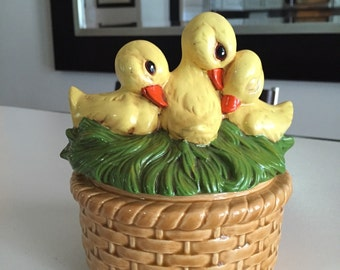 Ceramic Duck Canister/ Cookie Jar/ c.1980's By Gatormom13