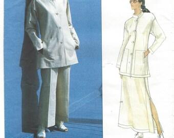 1990s Issey Miyake Vogue 1541 Mandarin Collar Jacket Pants Slit Skirt Day Evening Bust 34 36 38 Women's Vintage Sewing Pattern Uncut FF