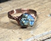 Size 9.25 , 9 1/4 - Raw rainbow titanium citrine gemstone , antique copper wire wrap ring - wrapped stone bohemian men women unisex jewelry